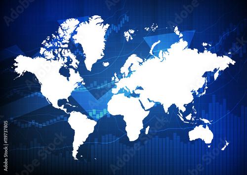 Cadres-photo bureau Carte du monde Vector : World map with business graph on blue background