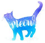 Fototapeta Dinusie - Blue watercolor cat