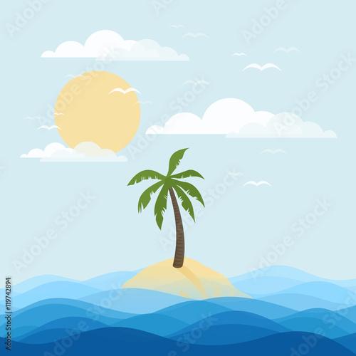 Foto op Aluminium Blauw Palm island