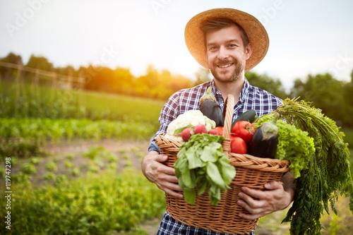 Fotografia  Man holding basket with organic vegetables
