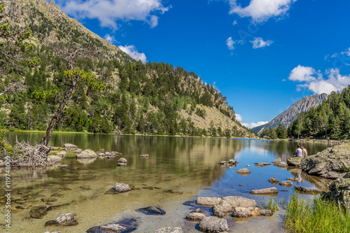 Printed kitchen splashbacks River The Ratera Lake in Pyrenees Catalonia Spain, on National Park Aiguestortes.