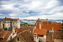 Split, Croatia. Town Houses And Sea Port