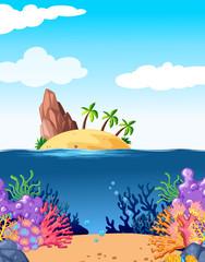Fototapeta na wymiar Scene with island and coral underwater