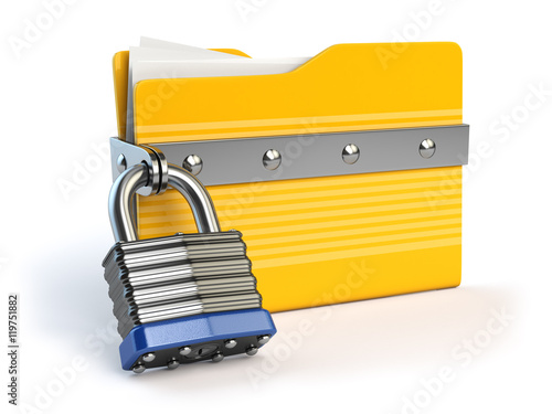 Fotografía  Yellow folder and lock. Data and privacy security concept. Infor