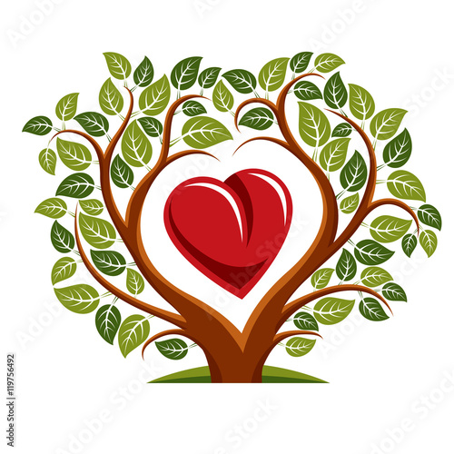 Fotografie, Obraz  Vector illustration of tree with branches in the shape of heart