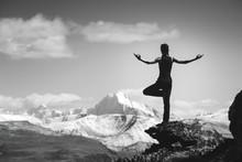 Woman Trekking Yoga Mountains ...