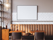 canvas print picture - Bright restaurant interior with blank canvas. 3d rendering