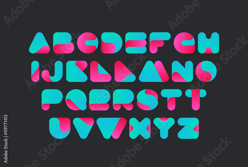 Projekt skręconej czcionki wektorowej. Alfabet kroju pisma. Logo ABC litery