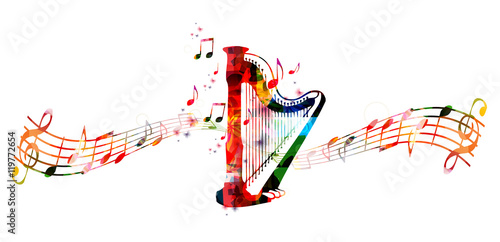 Creative music style template vector illustration, colorful concert harp, music instrument with music staff and notes background Wallpaper Mural