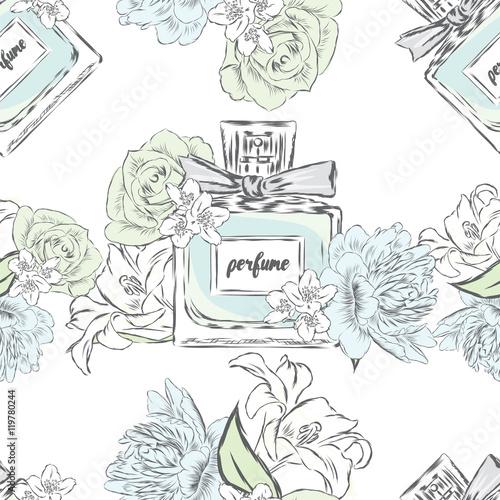 Cotton fabric Perfume bottle vector. Trendy print. Fashion, Style.