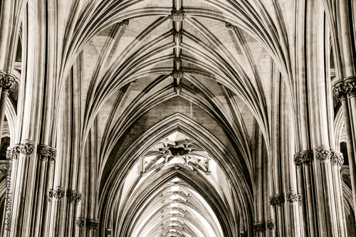 Fototapeta  Nave and Ceiling at Bristol Cathedral Columns Impost and Keystone