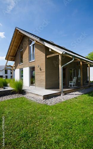 Haus Mit Holzfassade Nachhaltig Bauen Buy This Stock Photo And