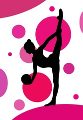 Panel Szklany Fitness / Siłownia Silhouette of girl doing rhythmic gymnastics exercises with ball over abstract background