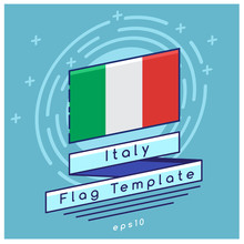 Italy Flag  : Flag Icon With Festive Background : Vector Illustration