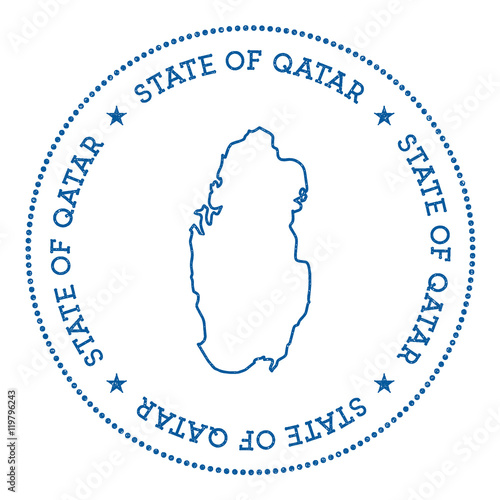 Qatar vector map sticker. Hipster and retro style badge with ...
