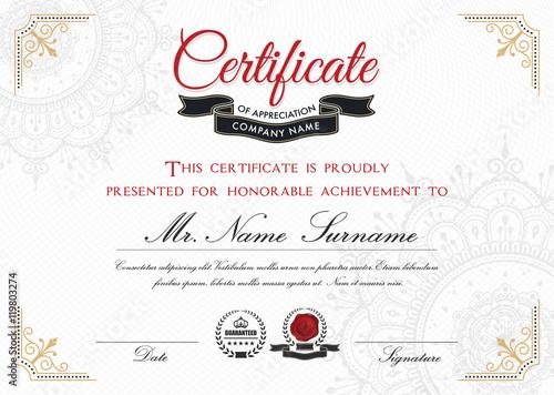 Certificate Template Design With Emblem Flourish Border On White