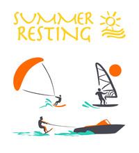 Vector Flat Water Skiing Logo ...