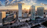 Warsaw city with modern skyscraper at sunset, Poland - 119805432