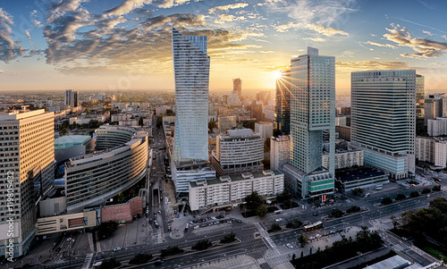 Fotografía  Warsaw city with modern skyscraper at sunset, Poland