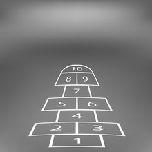 Hopscotch Game Isolated On Abstract Soft Grey Background.
