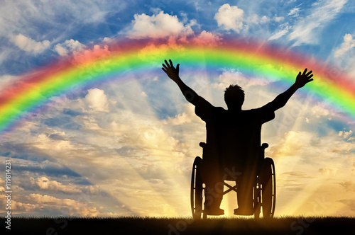 Valokuva  Happy disabled person in a wheelchair