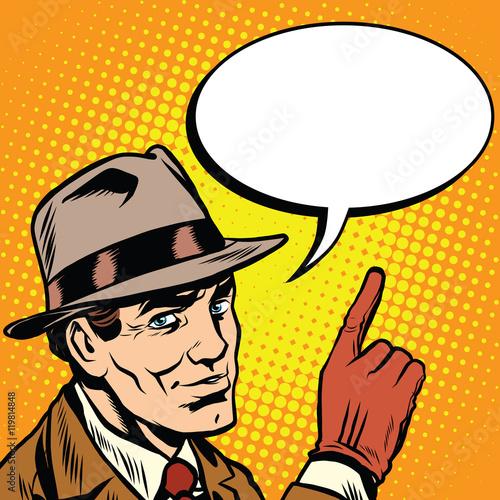Fotografía  Male spy points a finger, retro background