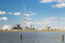 Antwerp Harbor Refinery And Flare Stack