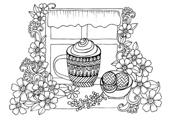 Morning cup of coffee. Handdrawing image in black and white