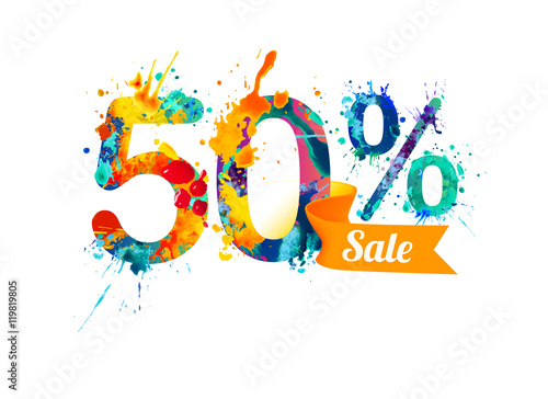 Fotografia  fifty (50) percents sale. Splash paint