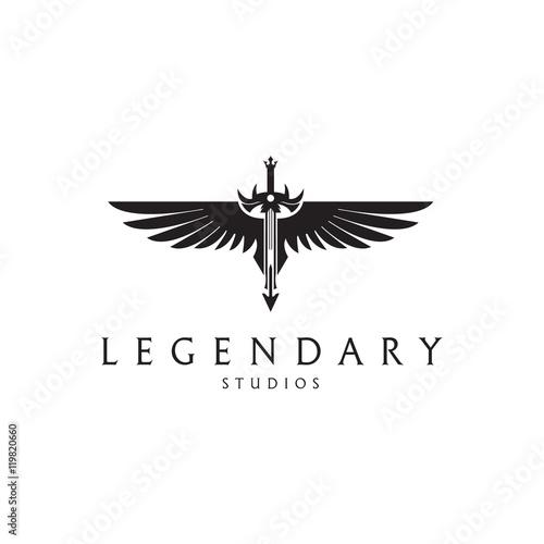 Legendary logo. Angel sword logotype. Sword with a wings.