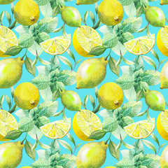 Fototapeta Nice handmade pattern of tea leafs and citrus fruits: lemon, grapefruit, orange, mint, lime. Watercolor.