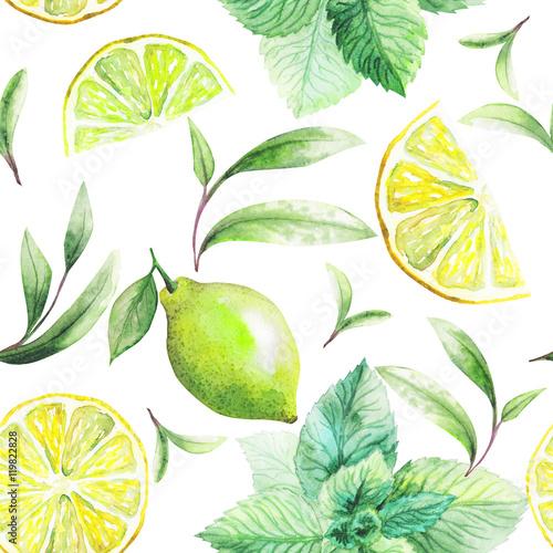 ladny-recznie-wykonany-wzor-lisci-herbaty-i-owocow-cytrusowych-cytryny-grejpfruta-pomaranczy-miety-limonki