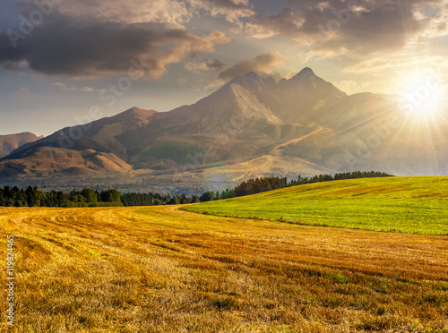 Poster Village rural field in Tatra mountains at sunset