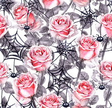 Pink Roses, Spiders, Webs. Hal...