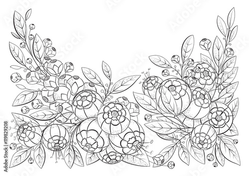 Coloring Book Page For Adult And Older Children With Flowers. Printable.  Black And White Background. Possible Use For Printing On Fabric. Stock  Illustration Adobe Stock