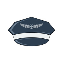 Pilot's Hat Vector Icon. Flat ...