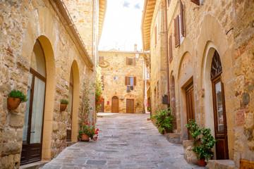 Fototapeta Street view in Montepulciano town in Tuscany region in Italy