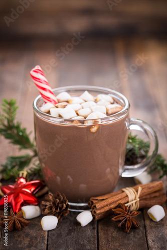 Printed kitchen splashbacks Chocolate Christmas hot chocolate with marshmallow