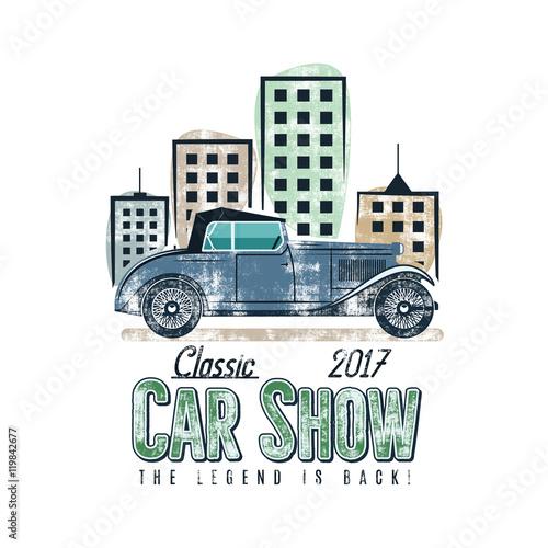 Vintage car show label design  Classic auto badge, insignia  Retro