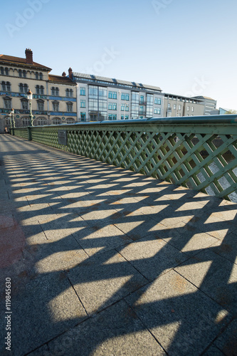 Grattan Bridge in Dublin City at sunset Poster