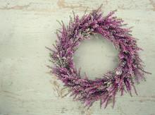 Purple Autumn Heather Flower Wreath