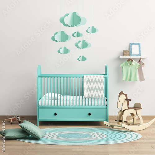 Valokuva  Modern baby's room with mint bed