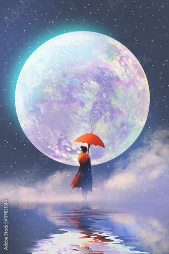 kobieta-z-czerwona-parasolowa-pozycja-na-wodzie-przeciw-ksiezyc-w-pelni-tlu-ilustracyjny-obraz