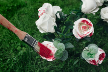 White Roses And Paintbrush