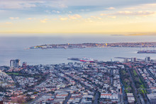 Melbourne, Australia - August 27, 2016: Aerial View Of Spirit Of Tasmania Vessel Docked At Port Melbounre At Sunset