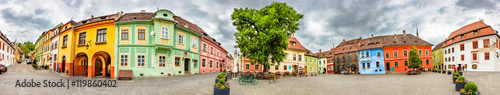 Photo  Panorama of the Sighisoara Citadel Square or Fortress Square, Romania
