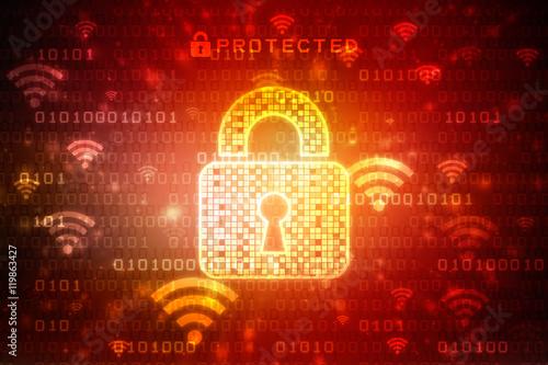 Photo  Security concept: Lock on digital screen, contrast, 2d illustration