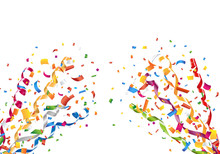 Exploding Party Confetti And Streamers Vector