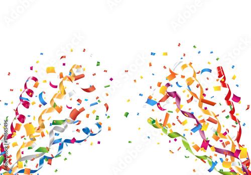 Obraz Exploding party confetti and streamers Vector - fototapety do salonu