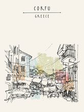 Street In Corfu, Greece, Europ...